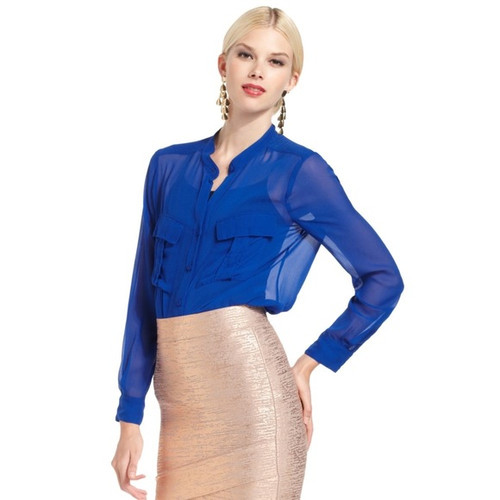 BCBG 'Anderson' Blue Sheer Silk Top Sz XS