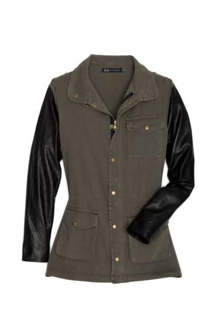 JET John Eshaya Army Green Black Leather Sleeve Jacket Sz M/L