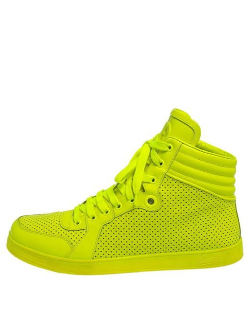 Gucci Men's Neon Green Leather High-top Sneakers Sz 9