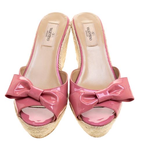 Valentino Pink Bow Espadrille Wedges sz 38 (US 7.5)