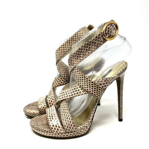Dolce Gabbana Snake Embossed Strappy Heel sz 37.5