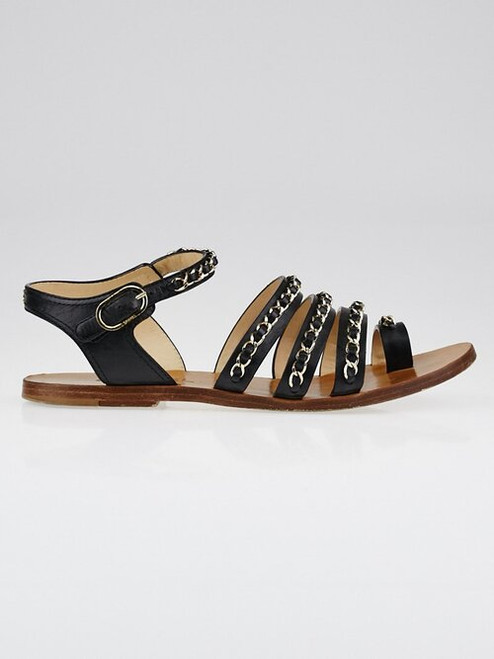 Chanel Chain-Embellished Toe-Ring Sandals in Black sz 38.5