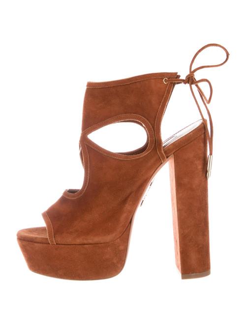 Aquazzura Firenze Camel Suede Platform Sandals sz 38 (US 7.5)