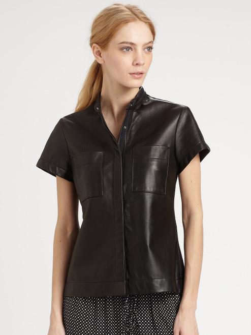 New! Rag & Bone Women's Black Leather Shirt sz S