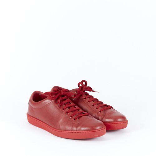 Gucci Red Leather Low-Top Sneakers sz 9.5