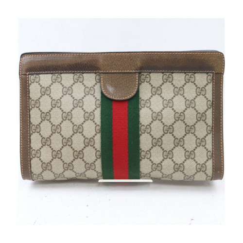 Gucci Sherry Line GG Brown Clutch