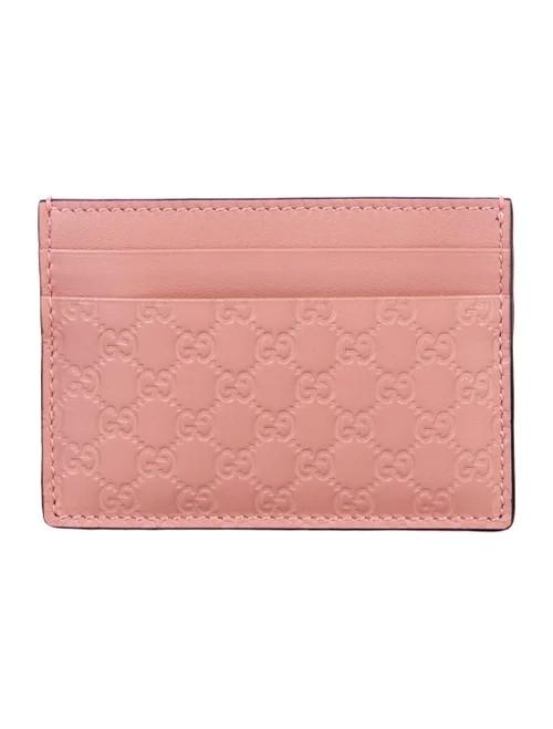 Gucci Pink Micro Guccissima Logo Card Holder