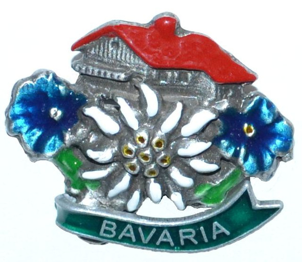 HP8708B Chalet w/Flowers Hat Pin BAVARIA