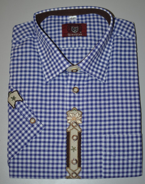 SHORT Sleeve Blue Check w/design (SH-234SSB)