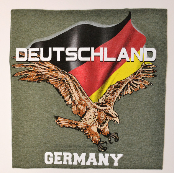 Deutschland/Germany Flying Eagle Green T-shirt Adult Screenprinted