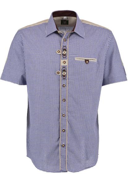 SHORT Sleeve Blue Checkered Shirt 2-tone w/design (SH-246BSS)