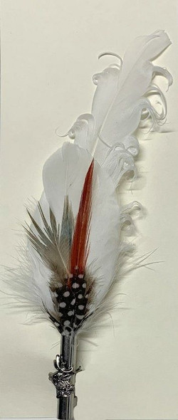"White with small colorful feathers 7.5"" (FSP103)"