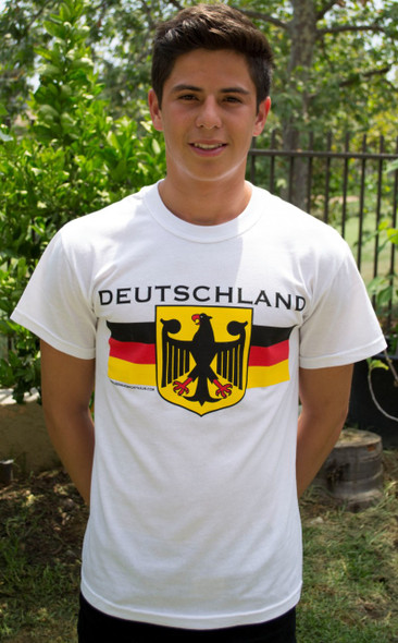 Deutschland Eagle White T-Shirt (DEUTEAG-WH) Adult Screenprinted