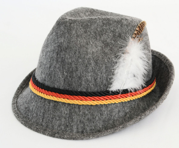 Souvenir Dark Gray Hat with Feather Black, Red, Gold Bands