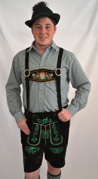 Black Cow Lederhosen (LEDBLK3-300EBWGREEN) with Bavaria suspenders