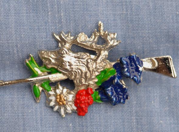 HPD8245 Elk, Rifle, Alpine flowers Hat Pin