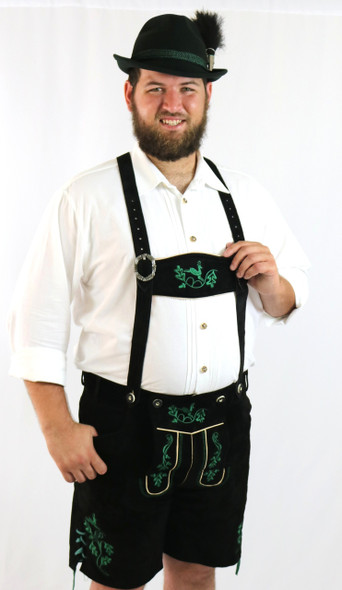 Black Cow Lederhosen (LEDBTBLK-GRN) with deer suspenders (DIETER)