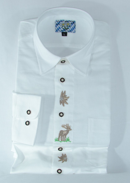 White with edelweiss/deer design Shirt (SH-403)