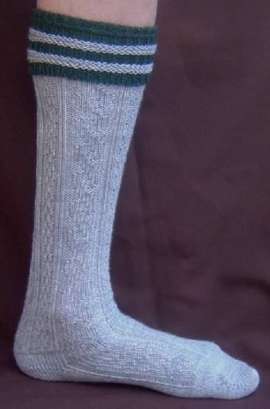 Gray Kneesocks with Green Trim (SOCK-201G)