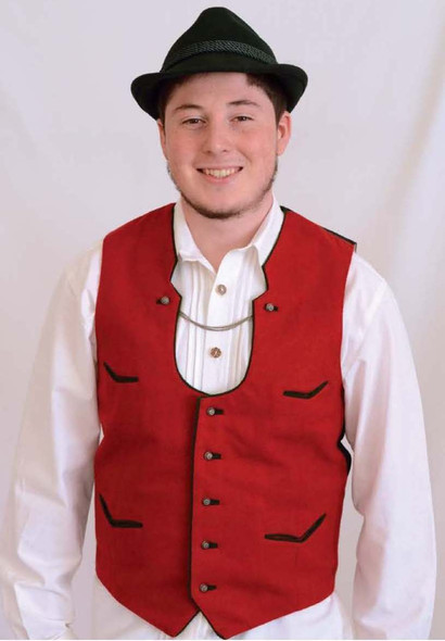 "Mens Red Wool Vest ""V"" Pockets"