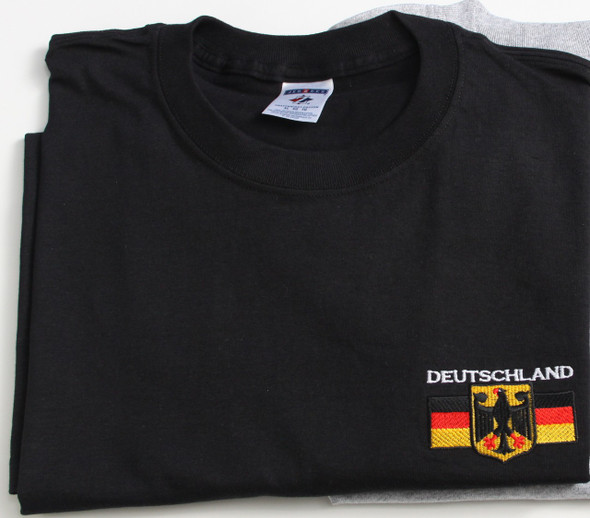 Deutschland T-Shirt (DEUT-BLK-EMB) Adult Embroidered