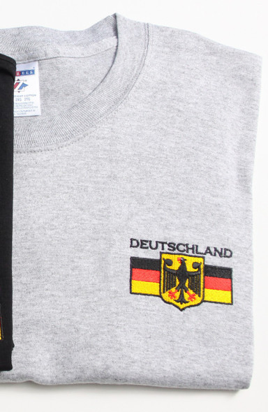Deutschland T-Shirt (DEUT-GRAY-EMB) Adult Embroidered