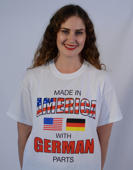 Made in America with German Parts White T-Shirt (GERMANPARTS-WHITE) Adult Screenprinted