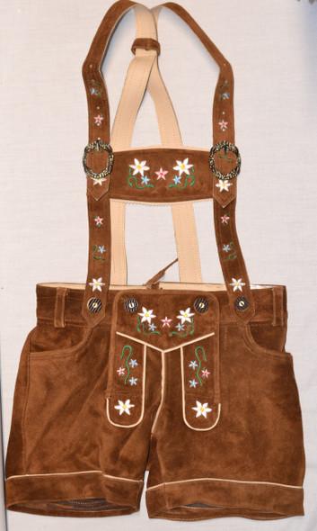 Ladies Leather Lederhosen - Brown (BTLADLTBRWN)
