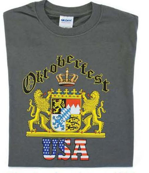 Oktoberfest 2 Lions Charcoal T-shirt(OKT-2LIONS-CHAR) Adult Screenprinted