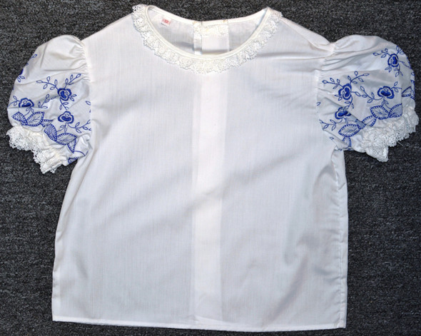 Girls Blouse with Royal Blue embroidered sleeves Size 11/12