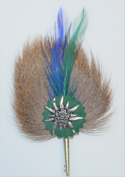"Rosette 5"" (ROS-215) with blue/green feathers"
