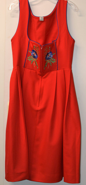 Jumper Red w/blue embroidered flowers on bodice
