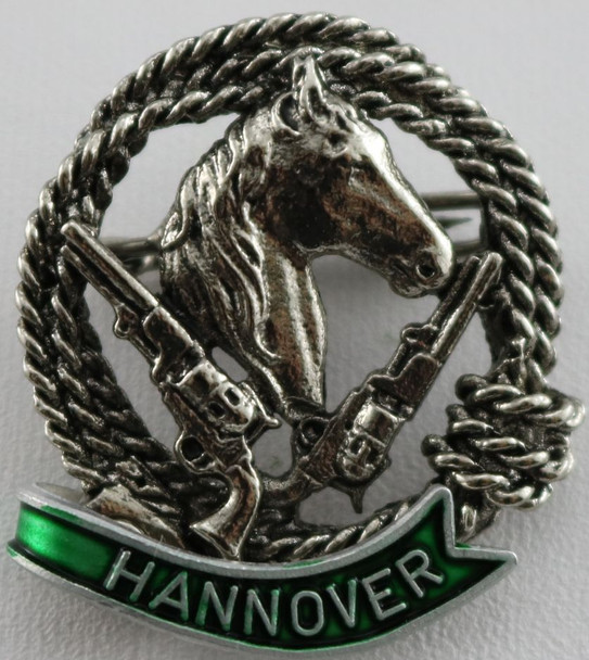 HP8461H Horse w/Guns Hat Pin HANNOVER