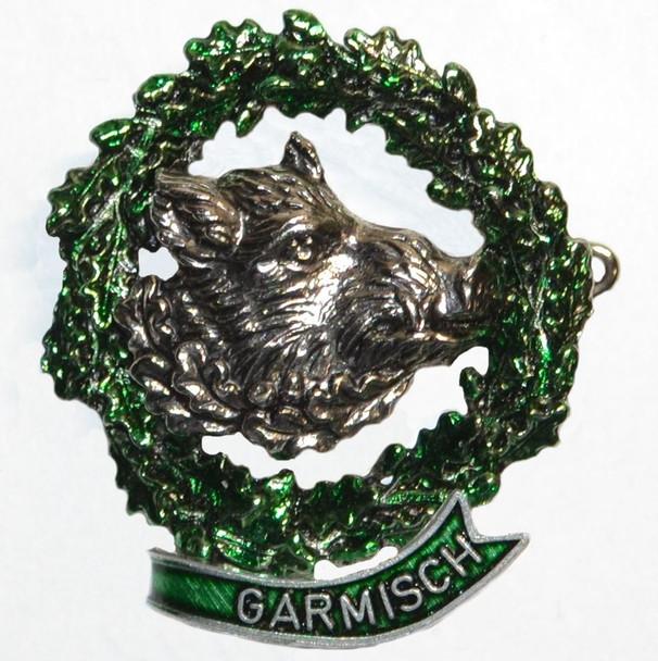 HP8494 Boar in Wreath Hat Pin GARMISCH