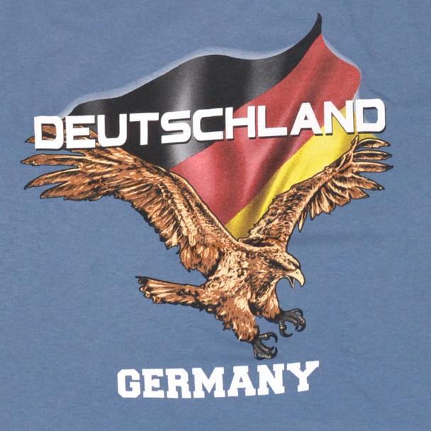 Deutschland/Germany Flying Eagle T-shirt Blue Adult Screenprinted