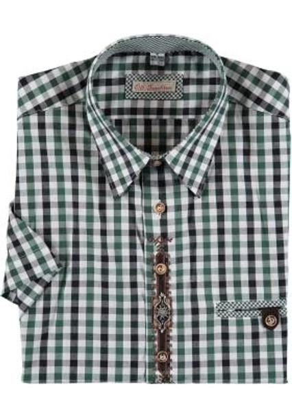 SHORT Sleeve Shirt Green/black with design (SH-248SS)