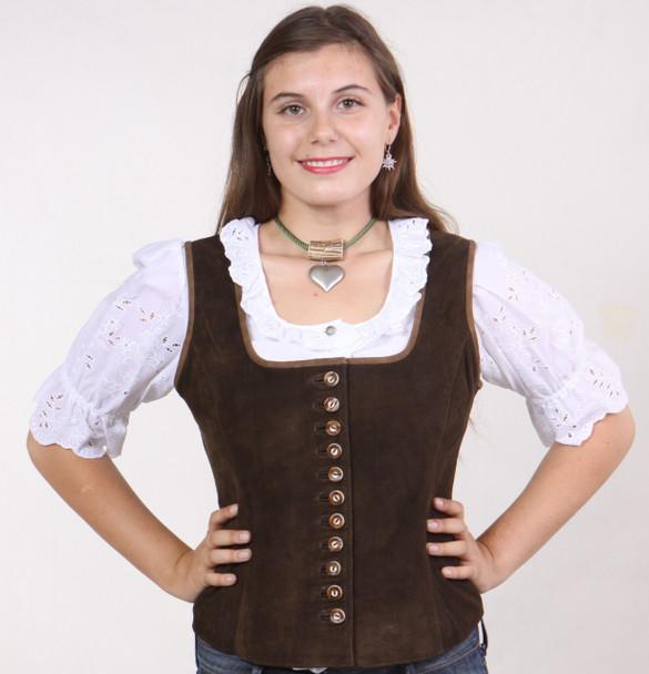 Ladies Leather Vest -Button (LV001)