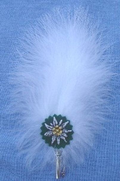 White Plume Feather with Edelweiss (FEA304)