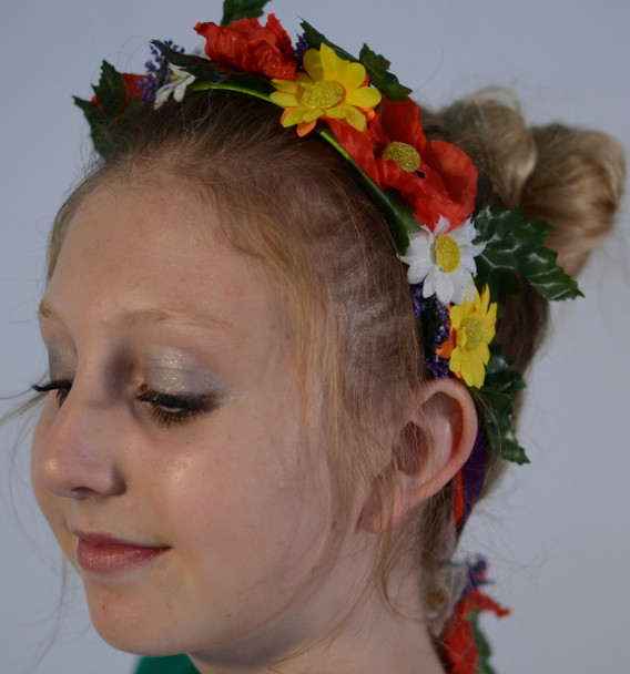 Oktoberfest Hair Garland (GAR-1001COLORFUL) Red/White/Yellow Flowers