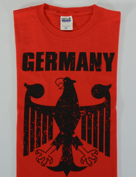 Germany Eagle Red T-shirt (GERMANYEAGLE-REDT) Adult Screenprinted
