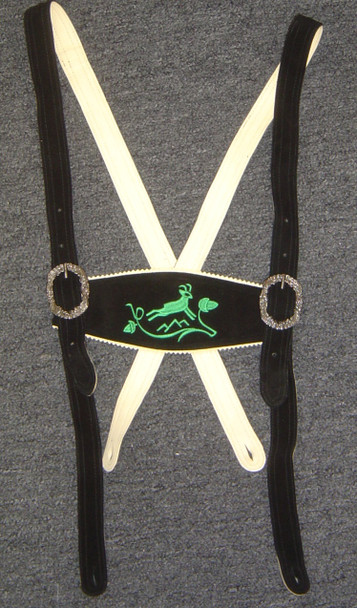 Black Suspenders Green Deer Embroidery - SPECIAL