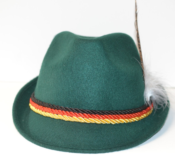 Souvenir Green Hat with Feather  Black, Red, Gold ropes