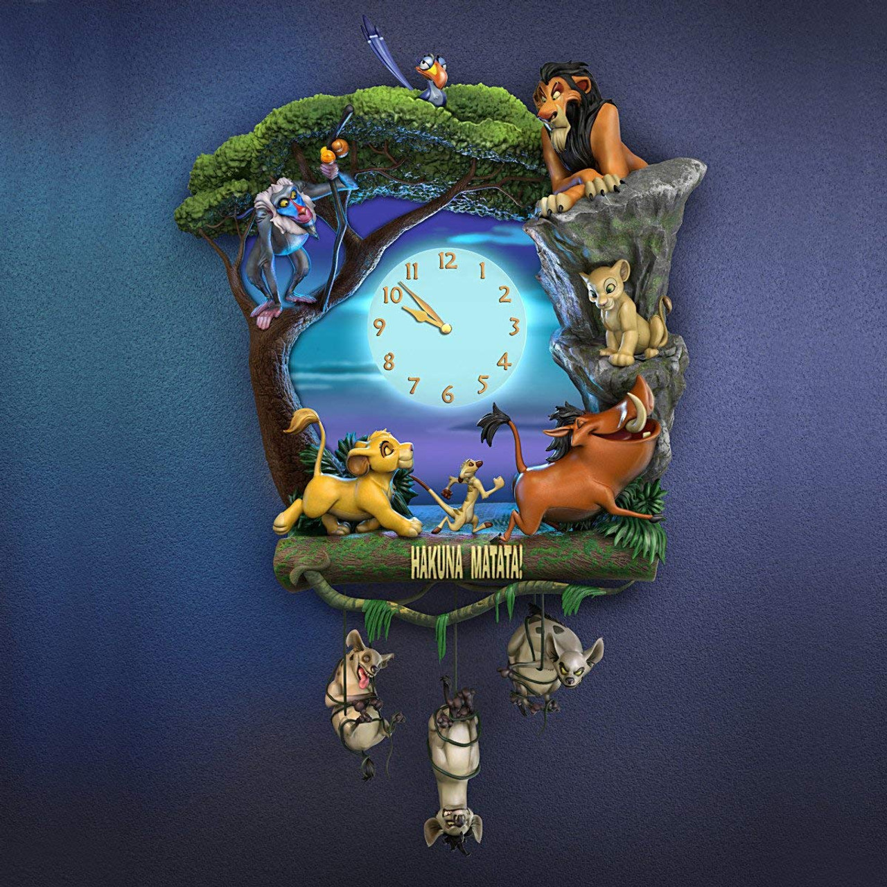 The Bradford Exchange Disney The Lion King Hakuna Matata Wall Clock With Music And Light Up Clock Face Colby Collectibles