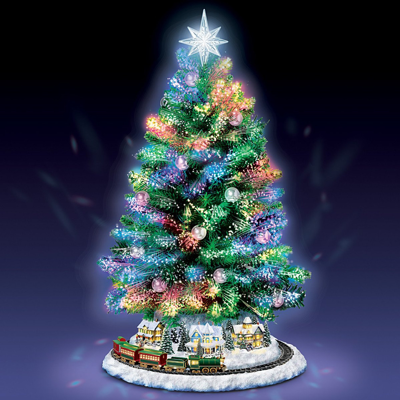 Bradford Exchange Holiday Sparkle Color Changing Fiber Optic Tabletop Christmas Tree By The