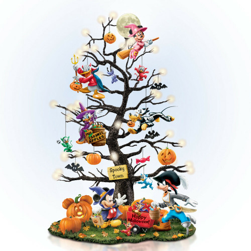 Bradford Exchange Disney Halloween TRICK OR TREAT TREE NEW Mickey Mouse Pumpkins