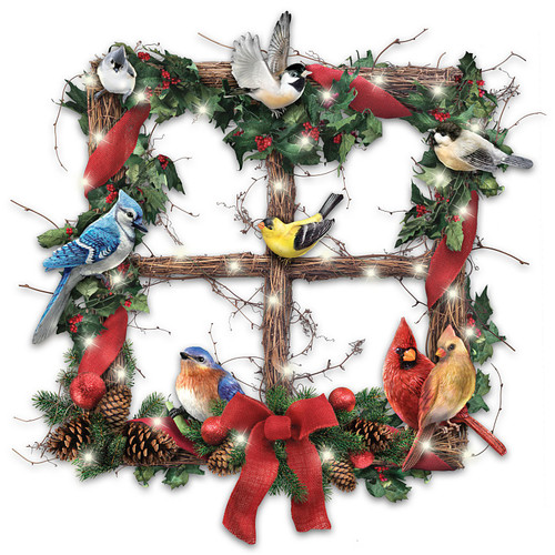 The Bradford Exchange Merry Woodland Melodies Lighted Songbird Holiday Wreath Plays Bird Sounds