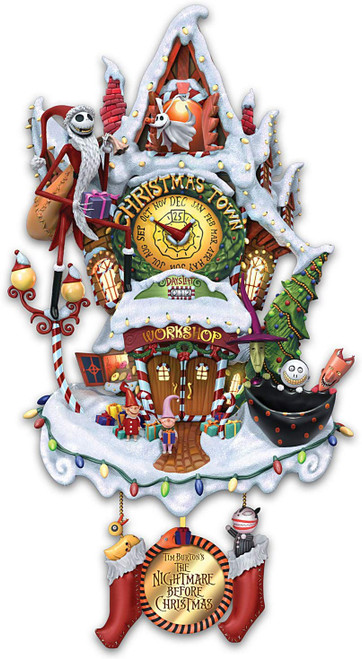 Bradford Exchange Tim Burton's The Nightmare Before Christmas Town Cuckoo Clock: Lights and Music by The