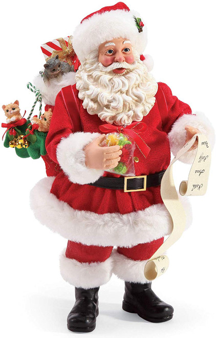 """Department 56 Possible Dreams Santa and His Pets Mittens and Kittens Figurine, 10.5"""", Multicolor"""