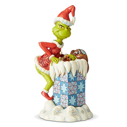 Enesco Dr. Seuss The Grinch by Jim Shore Climbing in Chimney Figurine, 8.98 Inch, Multicolor