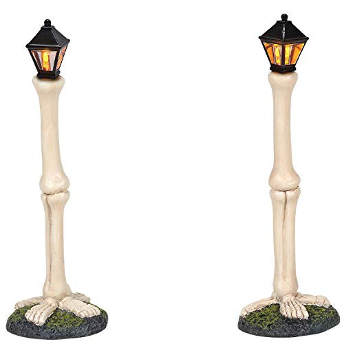 Department 56 Village Collection Accessories Halloween Femur Bone Street Lights Lit Figurine Set, 4.75 Inch, Multicolor